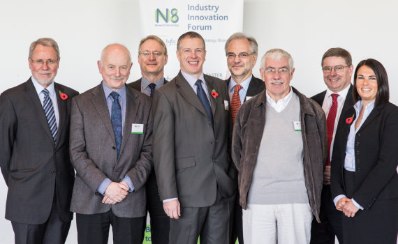 Pictured from left to right: Prof Chris Brink, Chair of the N8 Board of Directors; Mark Carver, SVP Research, Development and Innovation at Fujifilm Diosynth Biotechnologies; Pro-Vice-Chancellor, Research & Innovation, Newcastle University; Colin Reid, N8 IIF Director; Prof Trevor McMillan, Chair of the N8 Executive Management Group; David Randall, R&D Manager, Chemoxy; Iain Gray, Chief Executive, Technology Strategy Board; Sarah Jackson, N8 Director.